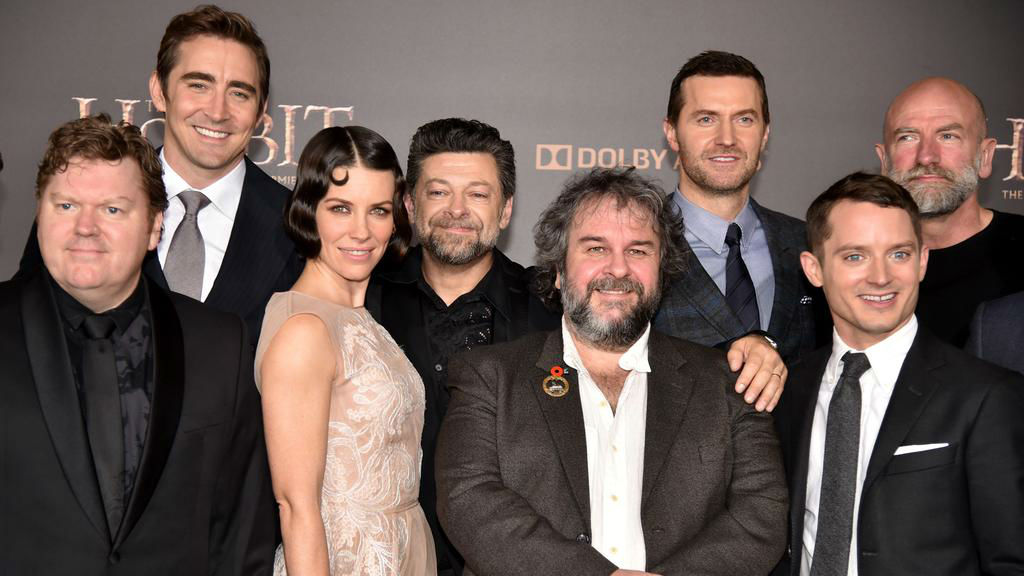 Stephen Hunter (Left) with castmates Evangeline Lilly, Elijah Wood and director Peter Jackson